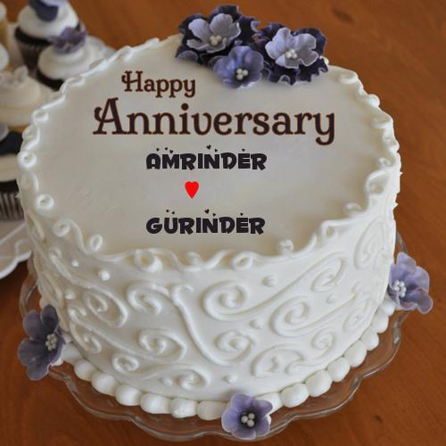 Anniversary Cake Pic Free Download : Anniversary Buttercream Fondant Flowers Cake With Name