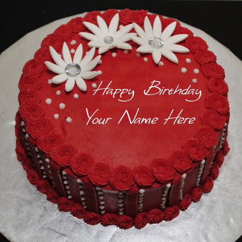 Write Your Name On Red Elegant Birthday Cake Online