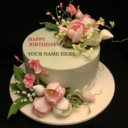 Birthday Images With Flowers And Cake With Names : Write Your Name On Flower Decorated Cake With Namepic