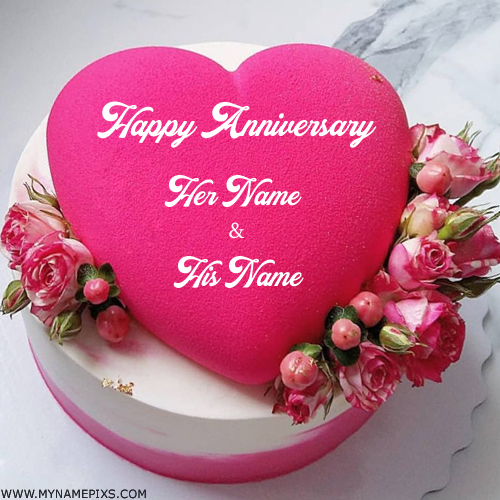 Wedding Day Images With Name: Write Your Name On Anniversary Cakes Pictures Online Edit
