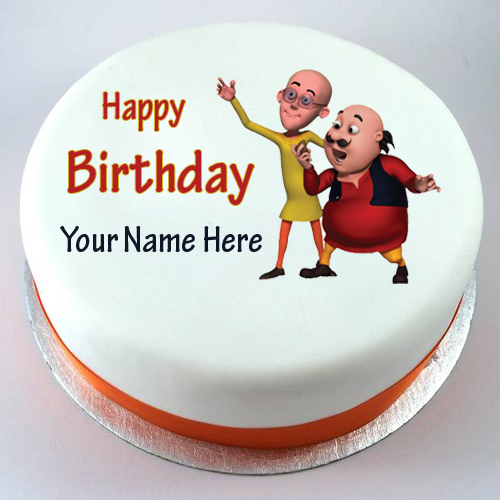 Cake Of Motu Patlu : Write Your Name on brithday cakes online pictures editing