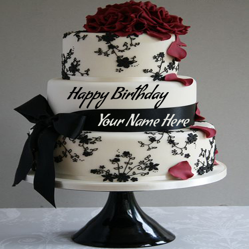 Write Name On Anniversary Cake Images : Write Name On Birthday Cake Pic Wrapped By Ribbon