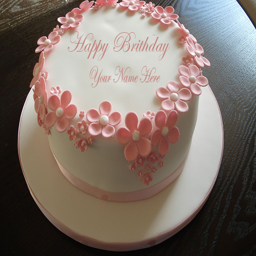 Birthday Images With Flowers And Cake With Names : Write Name On Happy Birthday Flower Cake Online
