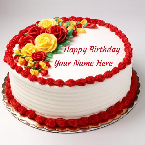 Birthday Cake Images To Write Name : Write Your Name On Purple Happy Birthday Cake Online