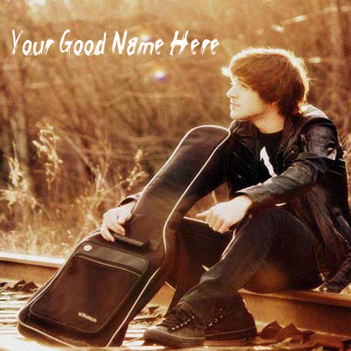 Acoustic Guitar Wallpaper For Facebook Cover With Quotes: Write Your Name On Cute Boys With Guitar