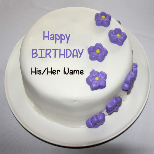 Write Name On Pretty Birthday Violet Floral Cake