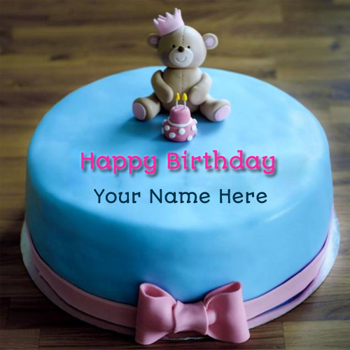 Cute And Sweet Birthday Cake With Your Name Write Name On: Cute First Name Birthday Cake For Girl With Teddy Bear