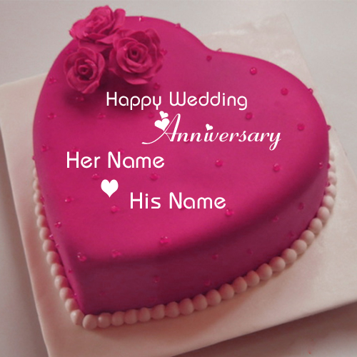 Happy Wedding Anniversary Wishes Heart Name Cake