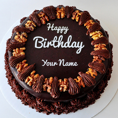 Create Chocolate Walnut Birthday Cake With Your Name