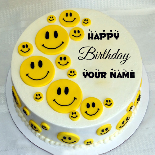 Happy Birthday Cute Funny Smiley Cake With Name