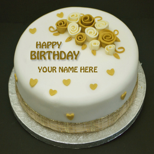 Birthday Images With Flowers And Cake With Names : Write Name on Happiest Birthday Flower Cake
