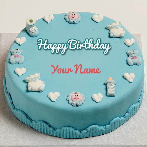 WRITE NAME ON Write Name on Happy First Birthday Cute Toys Cake PICS