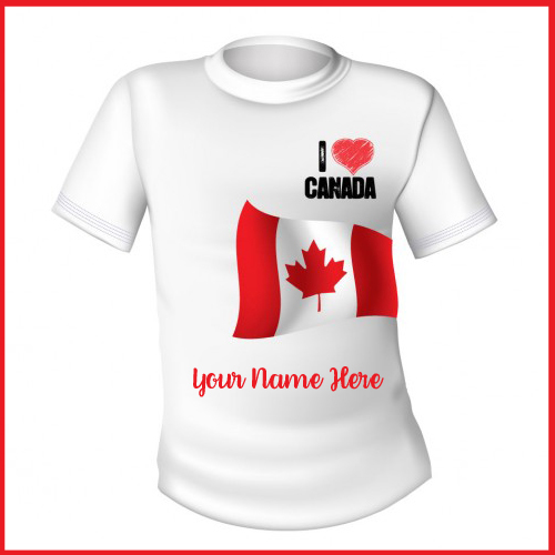Print name on white t shirt with the flag of canada for Print name on shirt