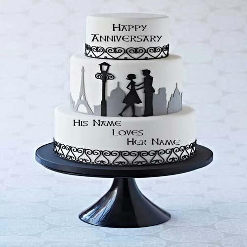 Write Name On Couple Anniversary Cake Online Free