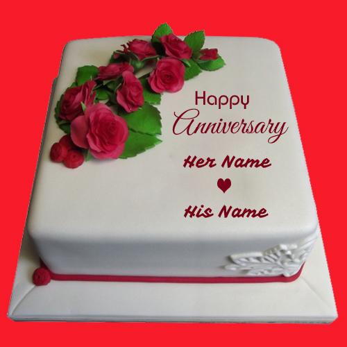 Write name on wedding anniversary cake online