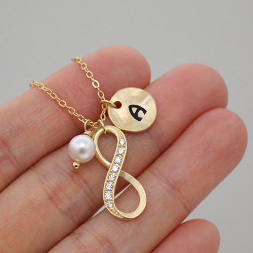 Write Alphanet On Infinity Disc Coin Pearl Necklace