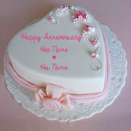 Love Anniversary Cake Images : Write Name on Marriage Anniversary Heart Love Cake