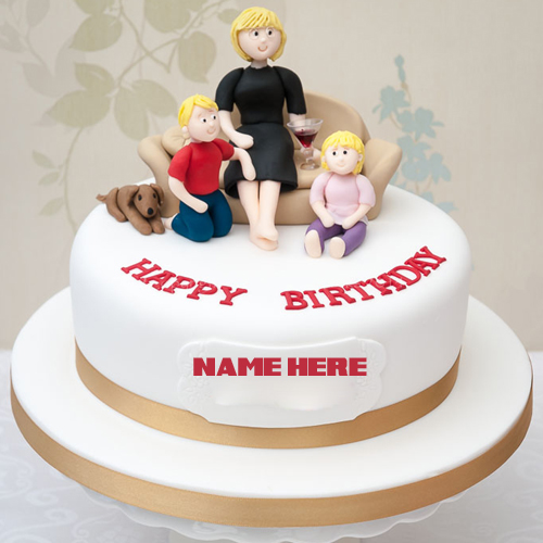 happy birthday dear mom round cake with your name
