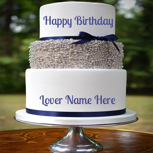 Happy Birthday Cakes For Lover With Name: Write Name On Happy Birthday Layered Cake For Lover