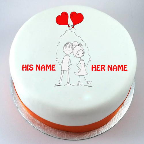 Anniversary Couple Cake Images : Write Name on Kissing Couple Birthday Cakes Online