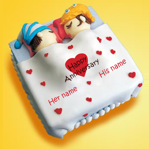 Cute Anniversary Cake Images : Write Name on Wedding Anniversary Cake Online