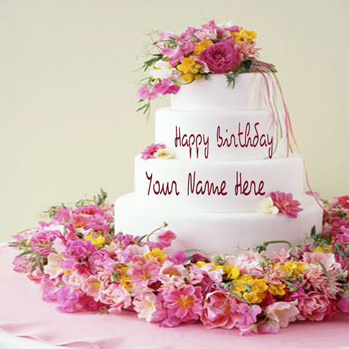 Birthday Images With Flowers And Cake With Names : Write Your Name On Flower Birthday Cake Picture