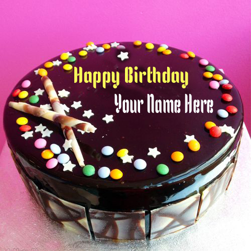 Write Name On Gems Chocolate Happy Birthday Cake Online