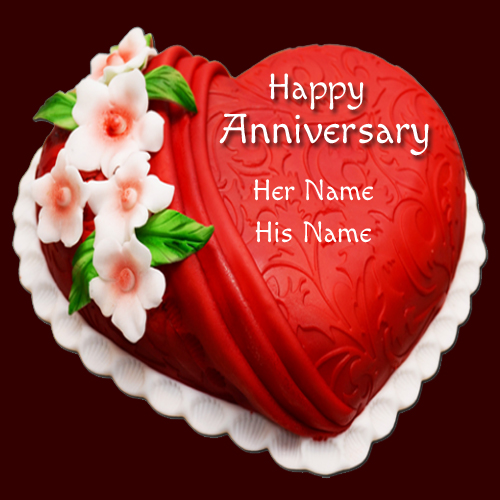 Write name on designer heart shape anniversary cake